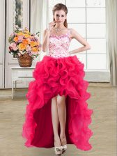Luxury Straps Beading and Lace and Ruffles Prom Party Dress Hot Pink Lace Up Sleeveless High Low