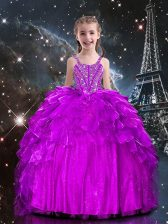 Elegant Organza Sleeveless Floor Length Little Girls Pageant Gowns and Beading and Ruffles