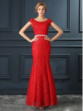 New Style Mermaid Scoop Cap Sleeves Lace Floor Length Lace Up Dress for Prom in Red with Beading