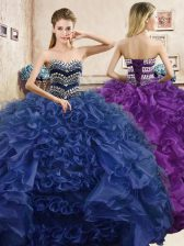 Navy Blue Sleeveless Floor Length Beading and Ruffles Lace Up Quinceanera Gown