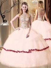 Glittering Pink Sweet 16 Dresses Military Ball and Sweet 16 and Quinceanera with Beading and Appliques Scoop Sleeveless Lace Up