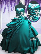 Modest Strapless Sleeveless Taffeta 15 Quinceanera Dress Appliques and Pick Ups Lace Up