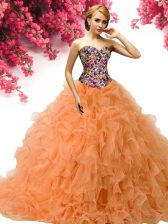 Orange Ball Gowns Sweetheart Sleeveless Organza Floor Length Lace Up Beading and Ruffles Sweet 16 Quinceanera Dress