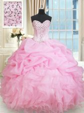 Great Rose Pink Ball Gowns Organza Sweetheart Sleeveless Beading and Ruffles and Pick Ups Floor Length Lace Up Ball Gown Prom Dress