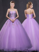 Glittering Lavender Tulle Lace Up Quinceanera Dresses Sleeveless Floor Length Appliques