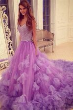 Lavender Tulle Backless Sweetheart Sleeveless With Train Prom Dress Court Train Beading and Hand Made Flower