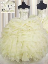 Ball Gowns Sweet 16 Quinceanera Dress Light Yellow Sweetheart Organza Sleeveless Floor Length Lace Up