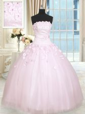 Baby Pink Lace Up Strapless Beading and Appliques Vestidos de Quinceanera Tulle Sleeveless