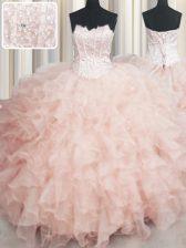 Visible Boning Scalloped Sleeveless 15th Birthday Dress Floor Length Beading and Ruffles Peach Organza