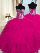 Suitable Floor Length Lace Up 15th Birthday Dress Fuchsia for Military Ball and Sweet 16 and Quinceanera with Beading and Ruffles