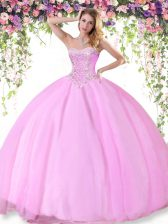 Fantastic Sweetheart Sleeveless Lace Up Quinceanera Gown Rose Pink Tulle