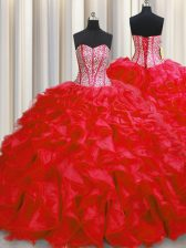 Superior Visible Boning Floor Length Red Ball Gown Prom Dress Organza Sleeveless Beading and Ruffles