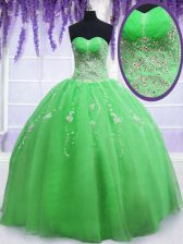 Traditional Ball Gowns Sweetheart Sleeveless Organza Floor Length Lace Up Beading and Embroidery Quinceanera Gowns