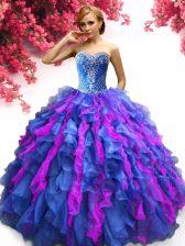 Dazzling Sweetheart Sleeveless Organza Sweet 16 Dresses Beading and Ruffles Lace Up