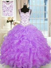 Luxurious Lilac Ball Gowns Organza Sweetheart Sleeveless Beading and Appliques and Ruffles Floor Length Lace Up Quinceanera Dress