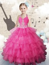 Fashion Halter Top Ruffled Hot Pink Sleeveless Organza Lace Up Little Girl Pageant Gowns for Party and Wedding Party