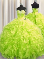 Yellow Green Ball Gown Prom Dress Sweetheart Long Sleeves Brush Train Lace Up