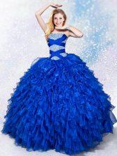 Royal Blue Organza Lace Up 15th Birthday Dress Sleeveless Floor Length Beading and Ruffles