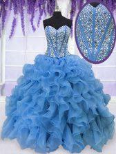 Baby Blue Sweetheart Lace Up Beading and Ruffles Sweet 16 Dresses Sleeveless