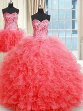 Suitable Three Piece Sleeveless Lace Up Floor Length Beading and Ruffles Sweet 16 Dress