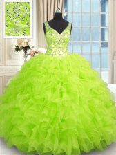 Traditional Sleeveless Organza Zipper Vestidos de Quinceanera for Military Ball and Sweet 16 and Quinceanera