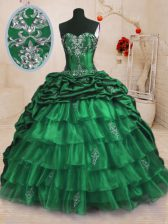 Pick Ups Ruffled With Train Ball Gowns Sleeveless Dark Green 15th Birthday Dress Sweep Train Lace Up
