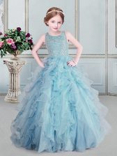 Light Blue Child Pageant Dress Quinceanera and Wedding Party with Beading and Ruffles Scoop Sleeveless Zipper