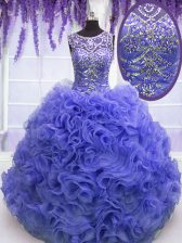 Best Purple Scoop Lace Up Beading and Ruffles Quince Ball Gowns Sleeveless