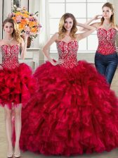 Designer Three Piece Red Quinceanera Dresses Sweetheart Sleeveless Brush Train Lace Up