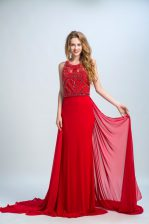 With Train Red Evening Dress Scoop Sleeveless Court Train Side Zipper