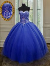 Low Price Floor Length Royal Blue Quinceanera Dresses Sweetheart Sleeveless Lace Up