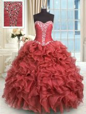 Rust Red Ball Gowns Sweetheart Sleeveless Organza Floor Length Lace Up Beading and Ruffles Sweet 16 Dress