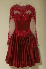 Knee Length Wine Red Prom Dresses Scoop Long Sleeves Zipper