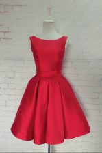 Excellent Knee Length A-line Sleeveless Red Prom Dresses Backless