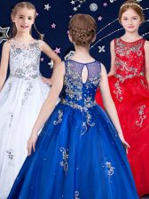 Scoop White and Red and Royal Blue Organza Zipper Pageant Gowns For Girls Sleeveless Floor Length Beading