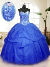 Custom Fit Floor Length Blue Quinceanera Dresses Tulle Sleeveless Sequins and Pick Ups