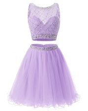 Shining Lavender A-line Beading and Belt Prom Party Dress Side Zipper Organza Sleeveless Mini Length