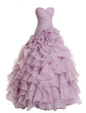 Organza Sweetheart Sleeveless Zipper Ruffles Prom Gown in Lilac