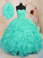 Fantastic Floor Length Lace Up Sweet 16 Dresses Turquoise for Military Ball and Sweet 16 and Quinceanera with Beading and Ruffles and Hand Made Flower