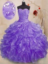 Simple Floor Length Lavender Sweet 16 Quinceanera Dress Organza Sleeveless Beading and Ruffles