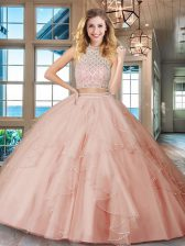 Sweet Pink Two Pieces Tulle Halter Top Sleeveless Beading and Ruffles Floor Length Backless Ball Gown Prom Dress