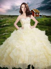 Ruffled Sweetheart Sleeveless Lace Up 15 Quinceanera Dress Light Yellow Organza