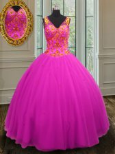 Tulle Sleeveless Floor Length Quinceanera Dresses and Beading