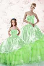 Trendy Sleeveless Floor Length Embroidery and Ruffled Layers Lace Up Quinceanera Dresses with