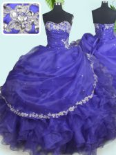 Graceful Purple Sleeveless Organza Lace Up 15 Quinceanera Dress for Military Ball and Sweet 16 and Quinceanera