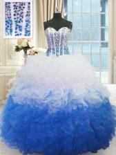 Stylish Blue And White Sweetheart Neckline Beading and Ruffles Sweet 16 Dress Sleeveless Lace Up
