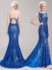 Top Selling Mermaid Square Sequins Blue Sleeveless Sequined Brush Train Clasp Handle Prom Gown for Prom