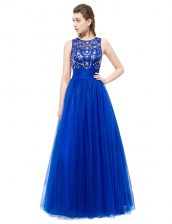 Glittering Scoop Tulle Sleeveless Floor Length Prom Gown and Beading