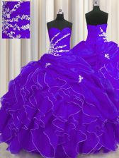 Dynamic Purple Sweetheart Lace Up Beading and Appliques and Ruffles 15 Quinceanera Dress Sleeveless