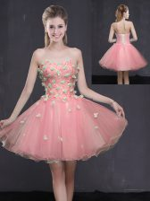 Mini Length Pink Evening Dress Organza Sleeveless Appliques